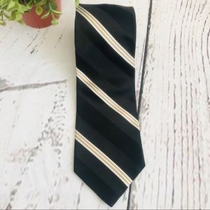 Tommy Hilfiger Men's Silk Striped Tie Black Tan